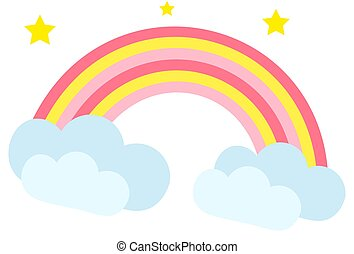 Rainbow icon, cartoon style. Isolated on white background. Vector illustration.