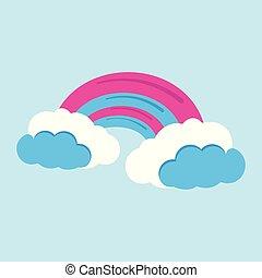 Rainbow icon. Fantasy World of the Unicorn. Cartoon style. Vector Illustration