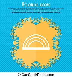 rainbow icon icon. Floral flat design on a blue abstract background with place for your text. Vector