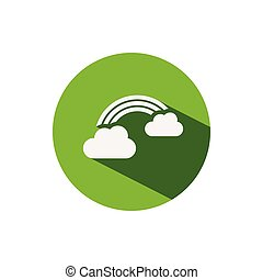 Rainbow. Icon on a green circle. Weather vector illustration