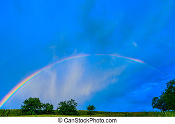 rainbow in a blue sky after the rain