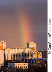 rainbow in a city