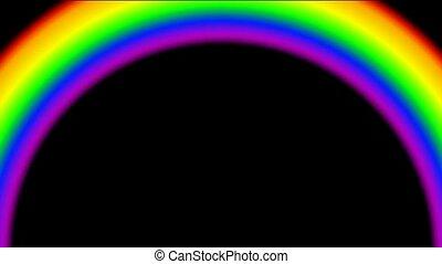 rainbow in black background, seamless loop, def