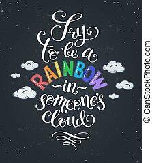 rainbow-in-cloud-02 - Inspirational typography on blackboard...
