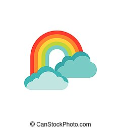 Rainbow in clouds icon, flat style