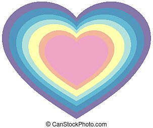 Rainbow in heart shape in pastel color template