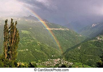 rainbow in mountain