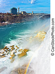 Rainbow in Niagara Falls and Rainbow Bridge above River