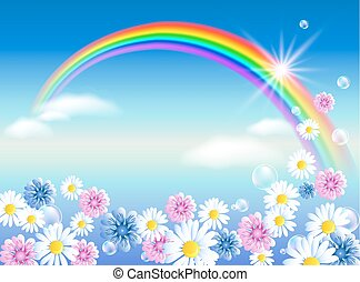 Rainbow in sky clouds with flowers