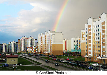 Rainbow in the city after the rain
