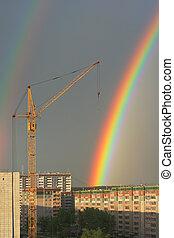 rainbow in the city