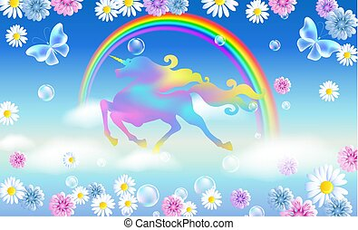 Rainbow in the sky and galloping unicorn with luxurious winding mane against the background of the iridescent universe with flowers