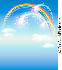 Rainbow in the sky and salute