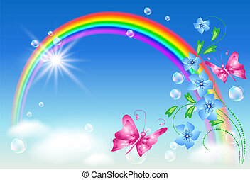 Rainbow in the sky - Rainbow, flowers and butterfly