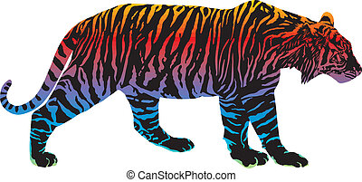 Tiger with rainbow smokescreen camouflage