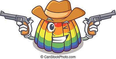Rainbow jelly Cowboy cartoon concept having guns