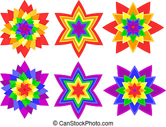 Rainbow kaleidoscope flowers - Full page of bright, bold...