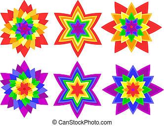 Rainbow kaleidoscope flowers - Full page of bright, bold...