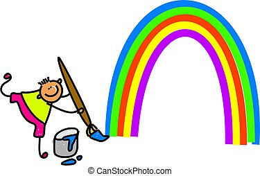 rainbow kid - little boy painting a rainbow - toddler art...