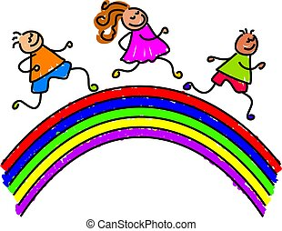 rainbow kids - kids running over a rainbow - toddler art...