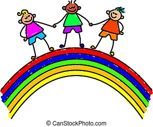 rainbow kids - kids standing over a rainbow holding hands -...