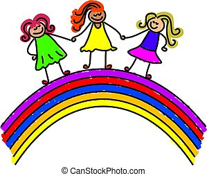 rainbow kids - little kids standing over a rainbow - toddler...