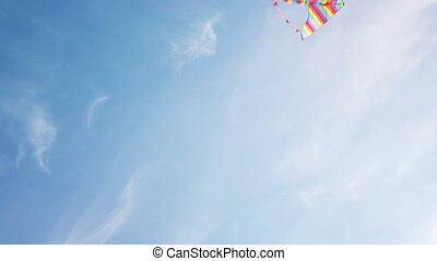 Rainbow kite flying in blue sky. Fly kite in the blue sky