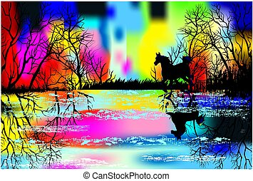 Rainbow landscape with a horse