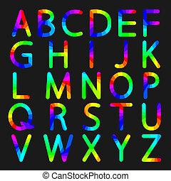 Rainbow letters of the alphabet
