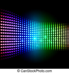 Rainbow Light Squares Background Showing Colourful Digital Art