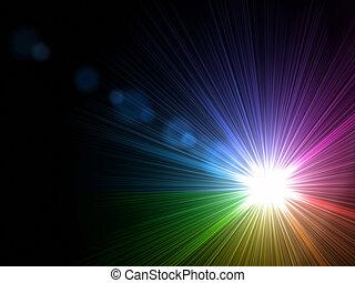 rainbow light - abstract lens flare light rainbow over black...