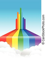 rainbow line cloud background