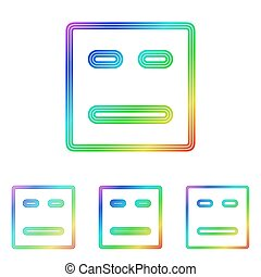 Rainbow line face logo design set