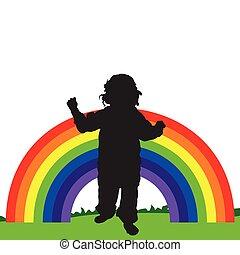 rainbow line illustration with child