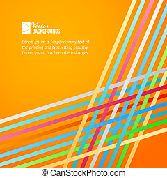 Rainbow lines over orange background. Vector illustration.