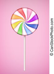 Rainbow Lolipop candy on pastel pink background. oncept of ...