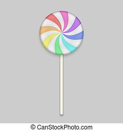 Rainbow Lolipop candy on white background. Vector ...