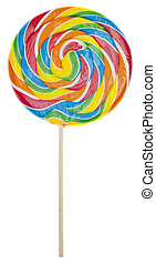 Rainbow Lolly Pop Candy Isolated on White with a Clipping Path.