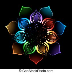 rainbow lotus - with iridescent petals of a lotus, painted...