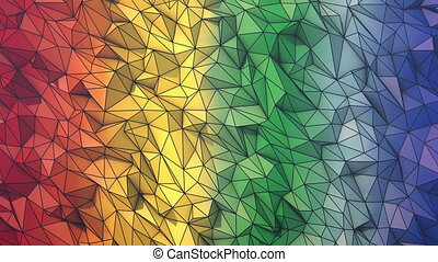 Rainbow low poly background loop with wire frame