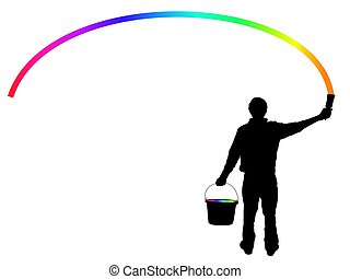 rainbow maker - Illustration of a person holding a...