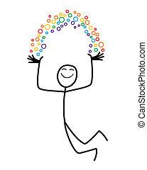 Rainbow man - A happy cartoon man holds his own rainbow