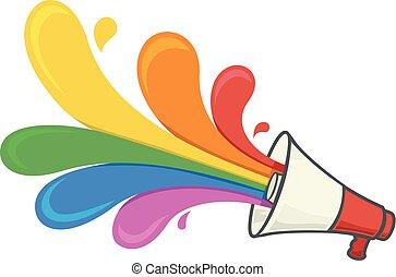 Rainbow Megaphone Lgbt Illustration - Illustration of a...