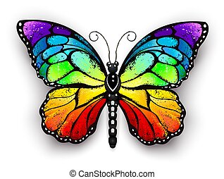 Rainbow monarch butterfly - Realistic monarch butterfly in...