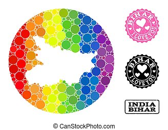 Rainbow Mosaic Stencil Circle Map of Bihar State and Love Scratched Stamp for LGBT