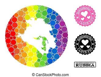 Rainbow Mosaic Stencil Circle Map of Krasnodarskiy Kray and ...