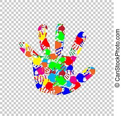 ilhouette of baby hand with colorful handprint pattern