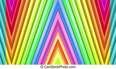 Rainbow multicolored stripes move cyclically. Abstract 3d...