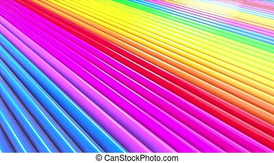 Rainbow multicolored stripes move cyclically in simple...