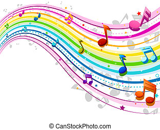 Rainbow Music Wave - Music Wave in Rainbow Colors with...